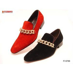NWB FIESSO SUEDE Shoe RED chain slip on FI6788